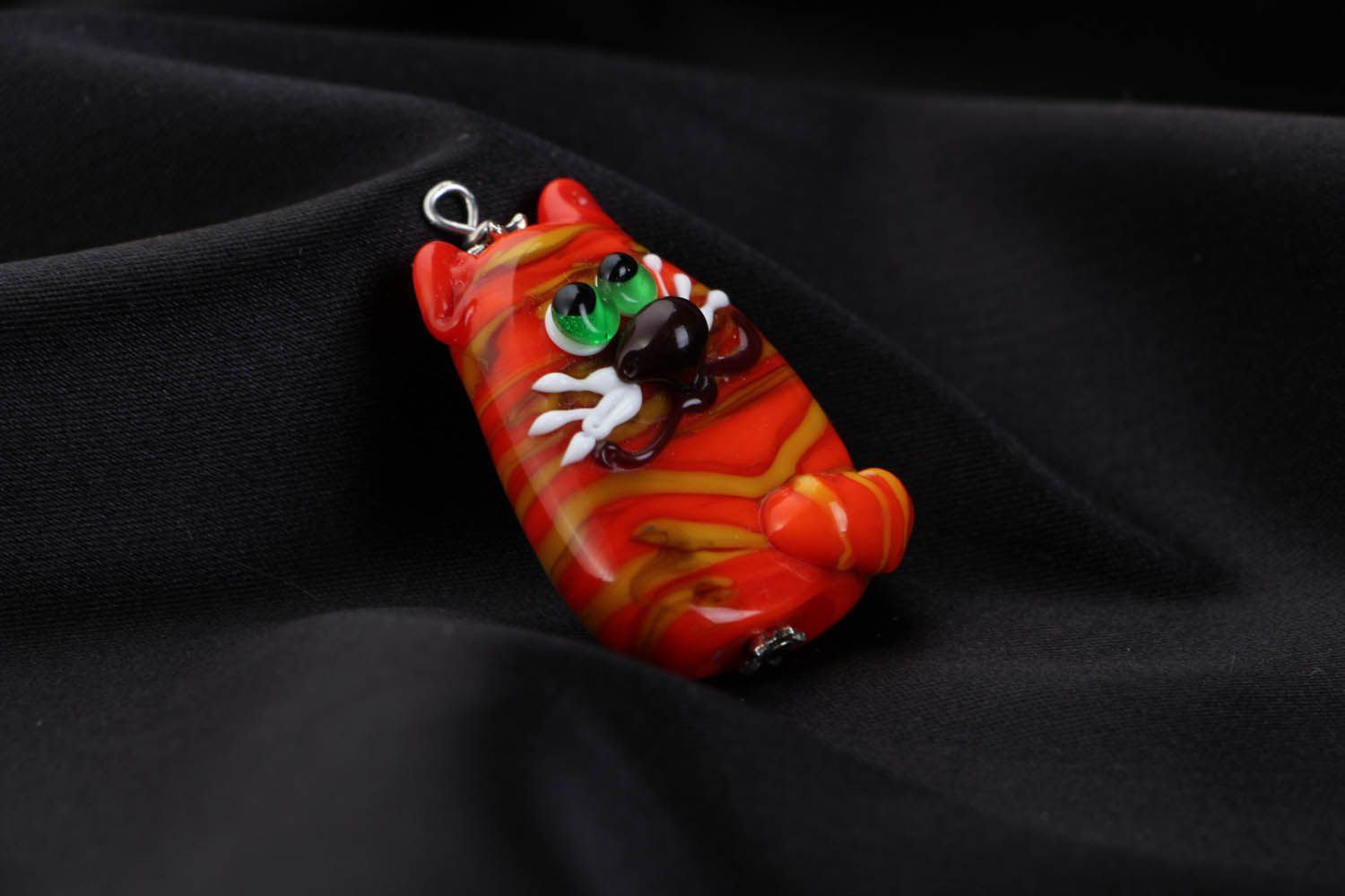 Handmade glass pendant Ginger Cat photo 2
