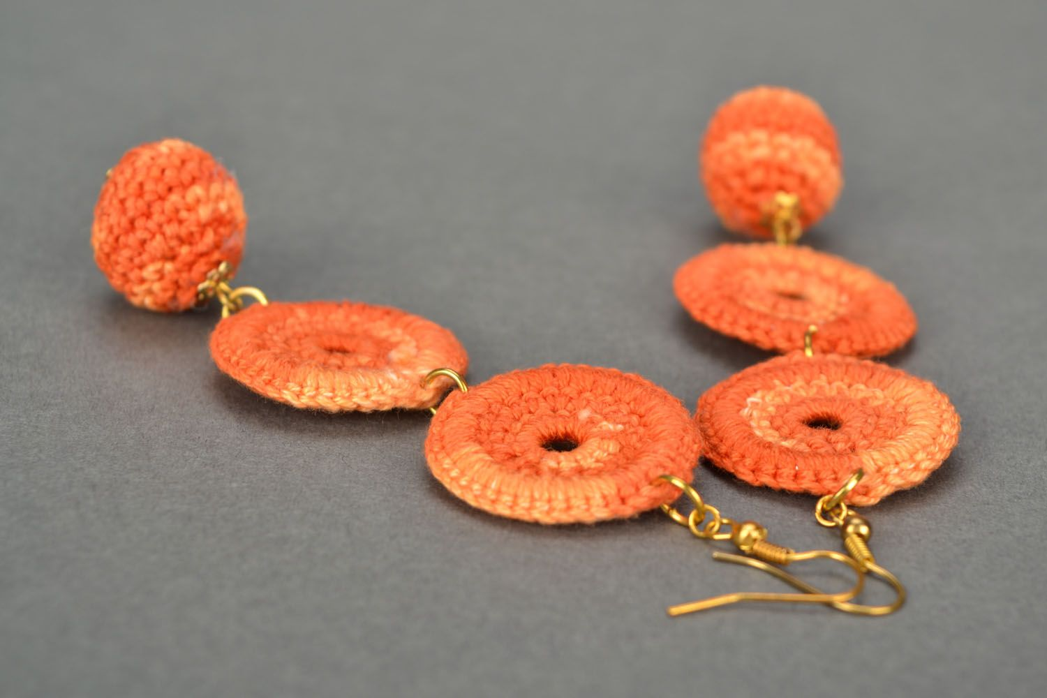 Long orange earrings photo 1