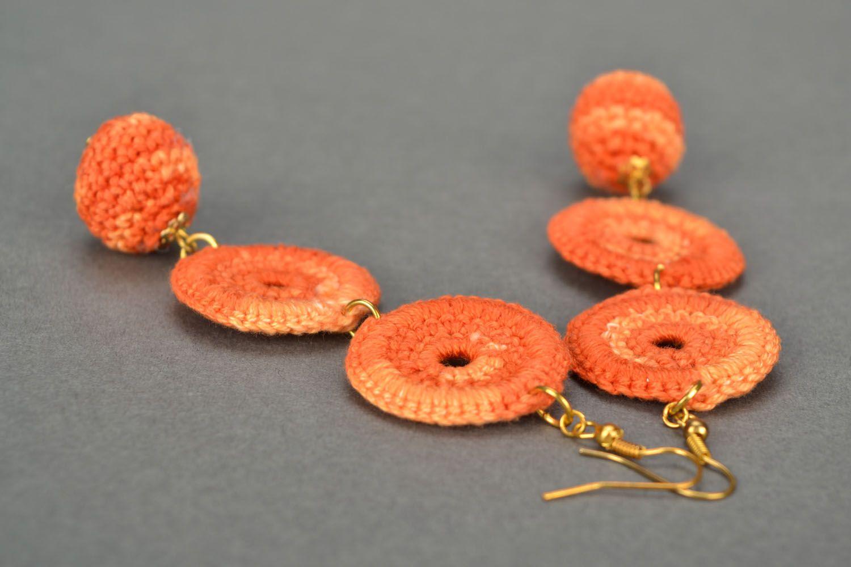 Long orange earrings photo 1