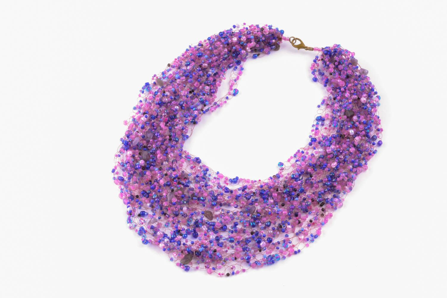 Purple necklace with natural stones photo 2