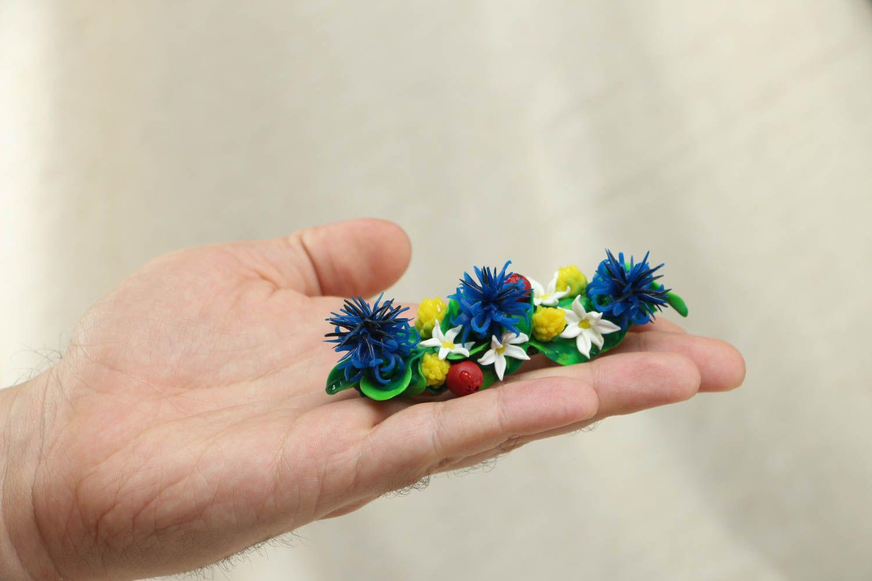 Polymer clay flower hair clip photo 4