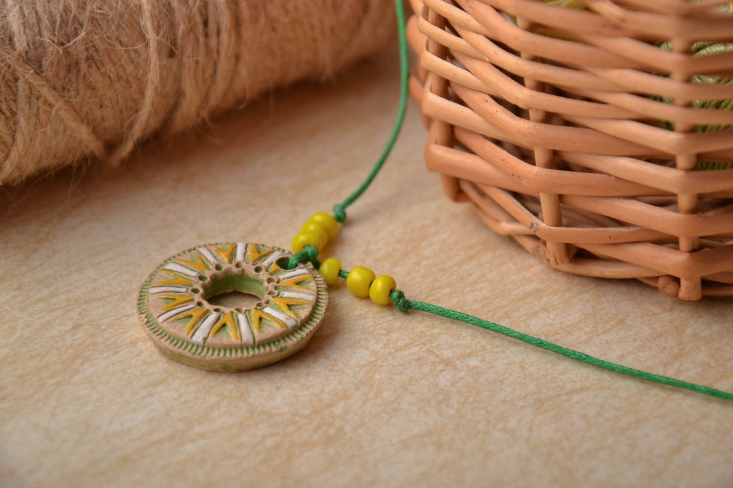 Bright clay pendant photo 1
