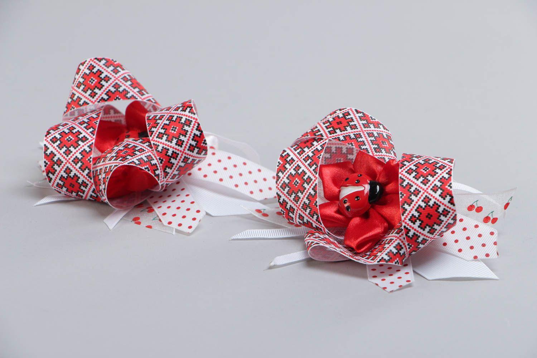 Set of handmade kanzashi satin fabric hair ties 2 pieces for girl photo 3