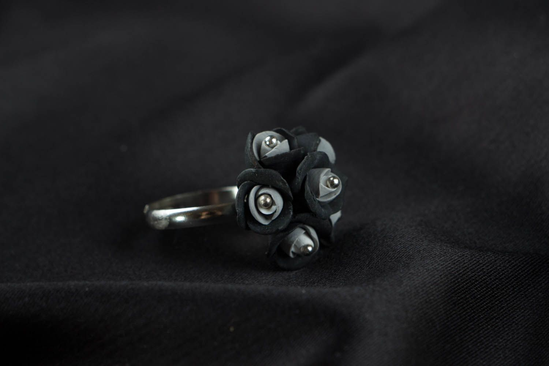 Handmade ring Black and Grey Roses photo 2