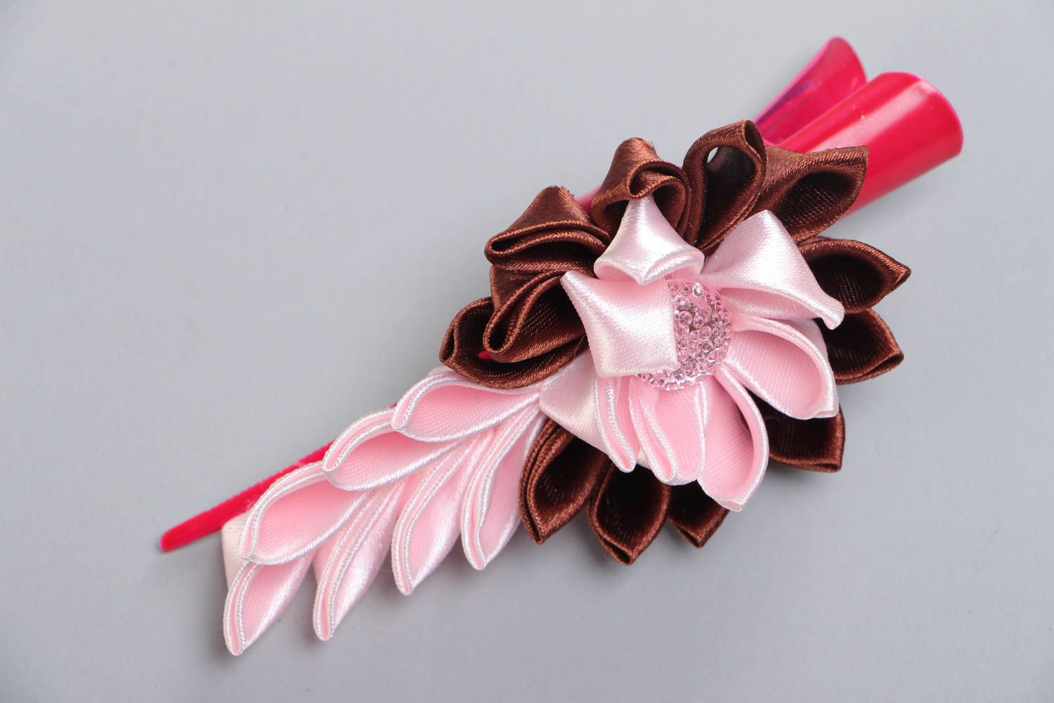 Handmade hair clip with satin ribbon kanzashi flower in pink and brown colors photo 2