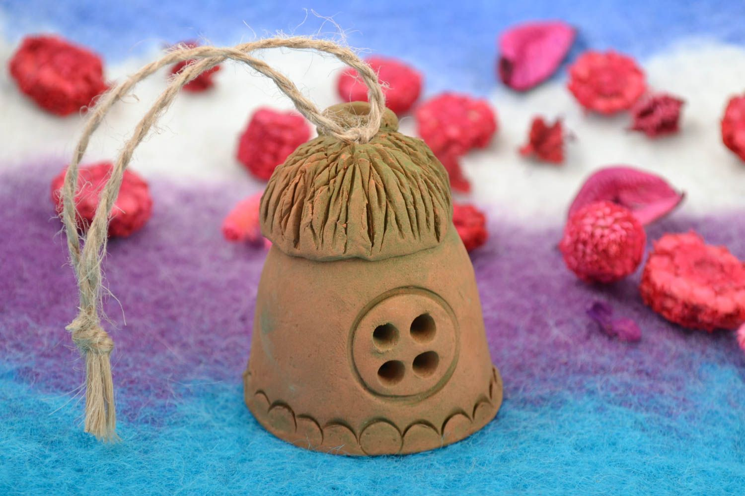 Handmade decorative figured ceramic hanging bell in the shape of house  photo 1
