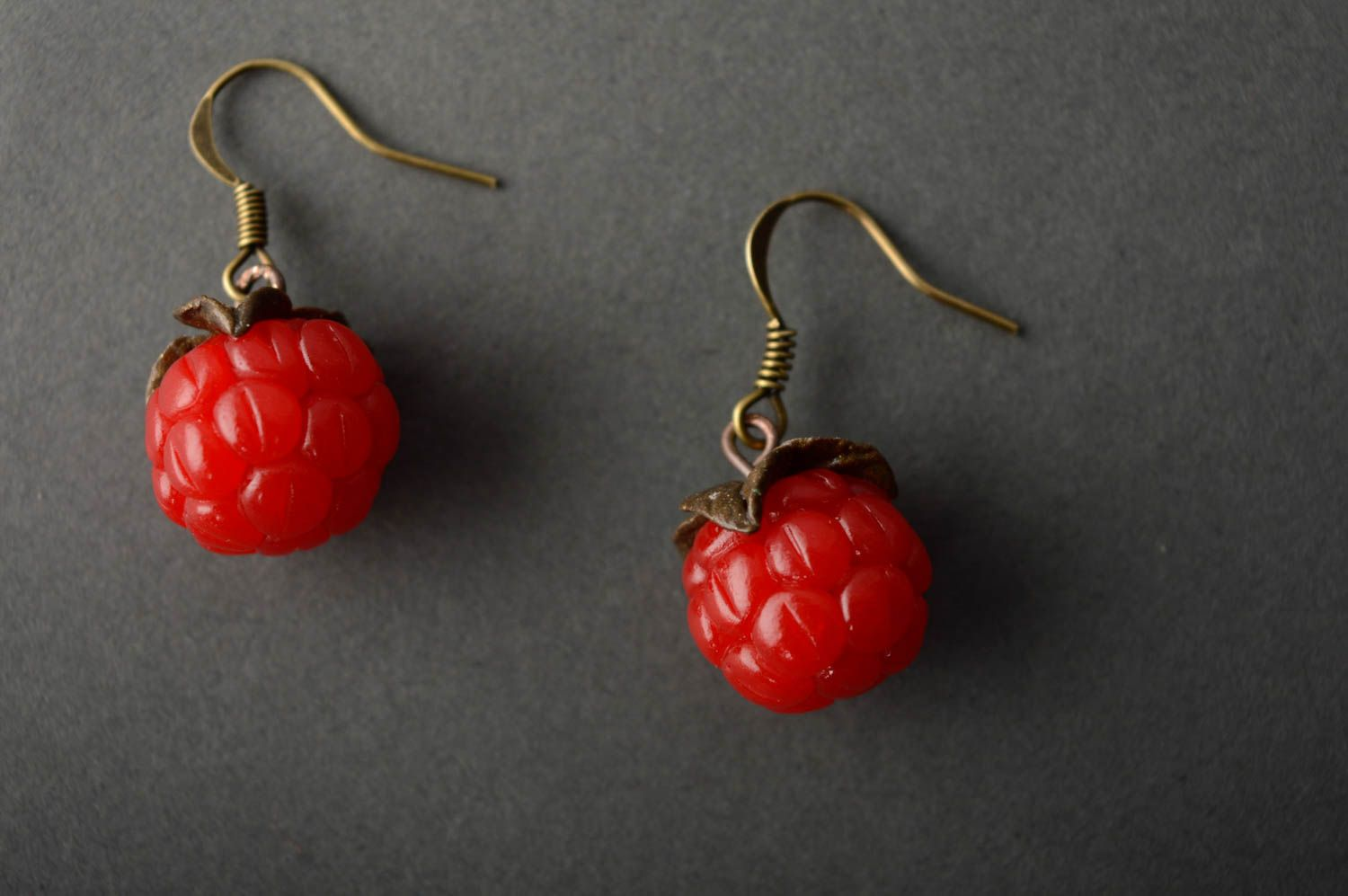 Polymer clay earrings with charms Raspberry photo 4