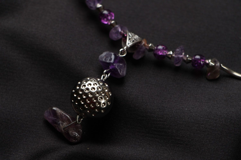 Unusual beaded necklace with amethyst Violet Dreams photo 3