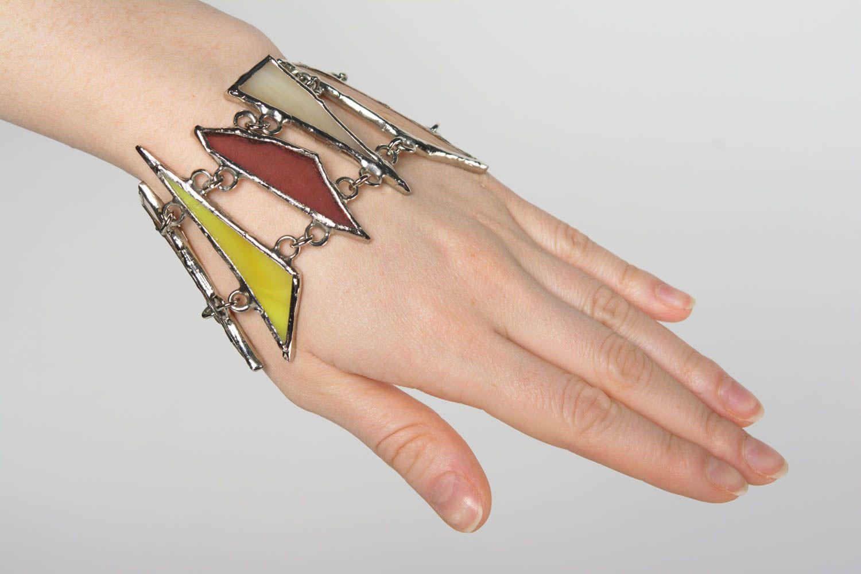 Handmade colorful glass and metal wrist bracelet designer for women photo 2
