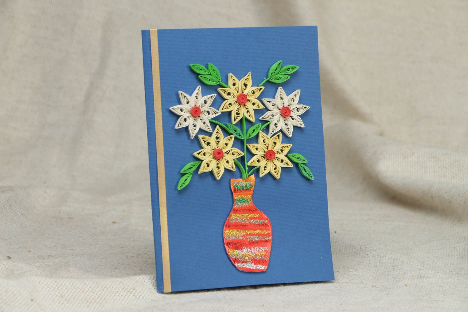 Greeting card made using quilling technique photo 1