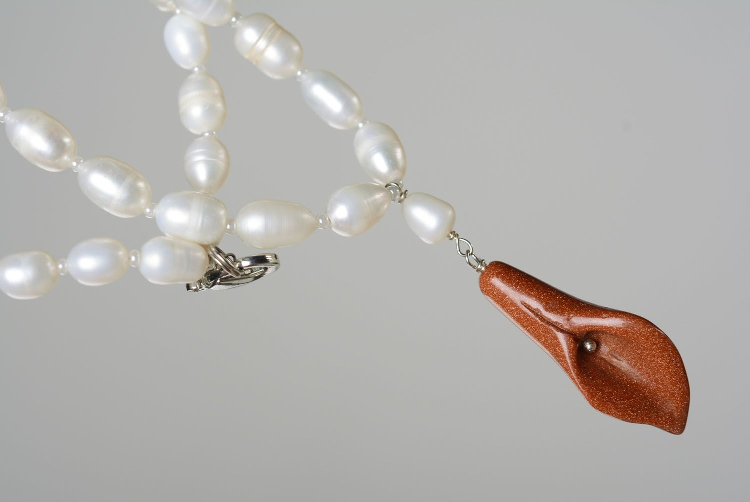 Necklace with pearls and aventurine photo 5