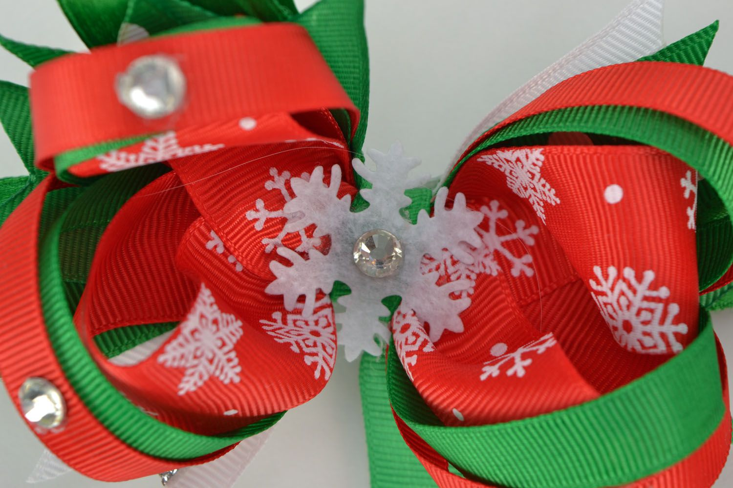 Hair clips with rep ribbons Christmas photo 4