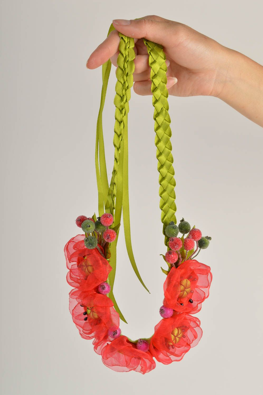 Unusual handmade textile necklace costume jewelry fashion accessories gift ideas photo 2