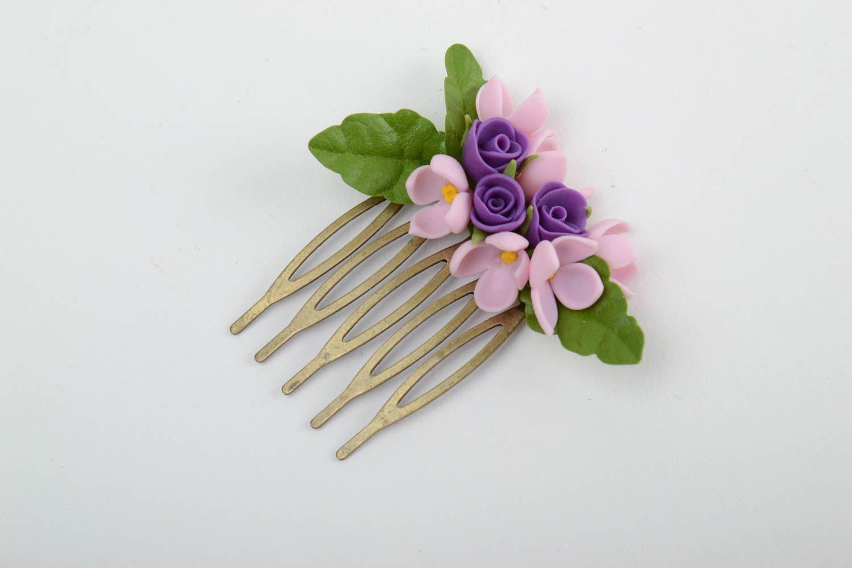 peines Peineta para el pelo de porcelana fría artesanal con lila y rosas , MADEheart.