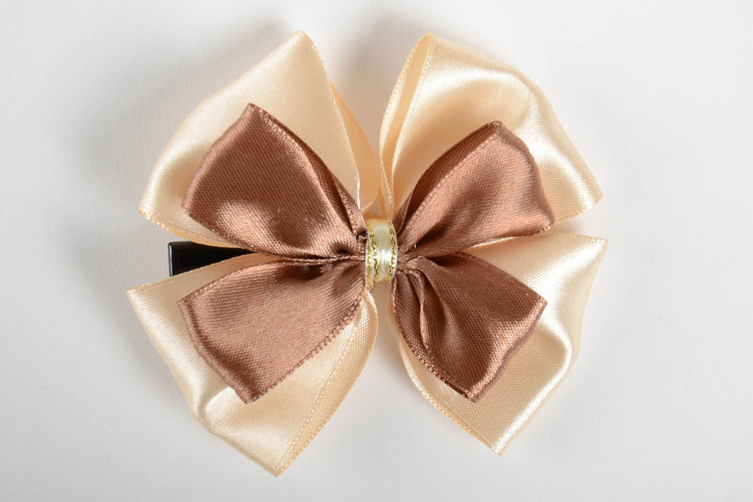Handmade unusual hair clip accessory in shape of bow stylish satin hair clip photo 4