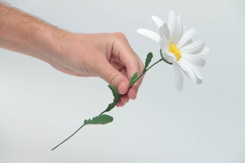 Unusual handmade decorative flower created of plastic suede Camomile photo 5