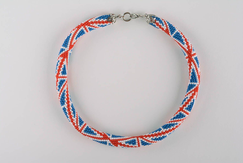 Beaded cord necklace British Flag photo 4