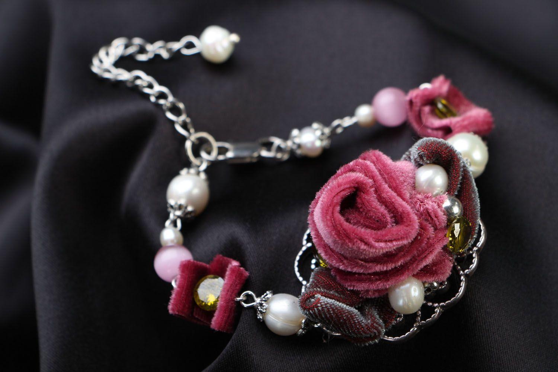Armband aus Natursteinen Rose foto 1