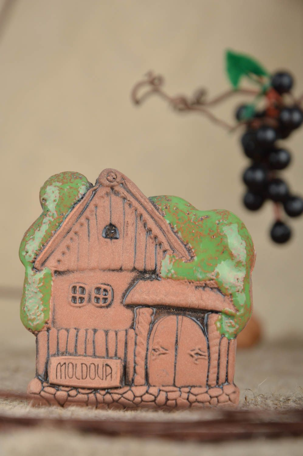 Unusual handmade painted ceramic fridge magnet in ethnic style Country House photo 1