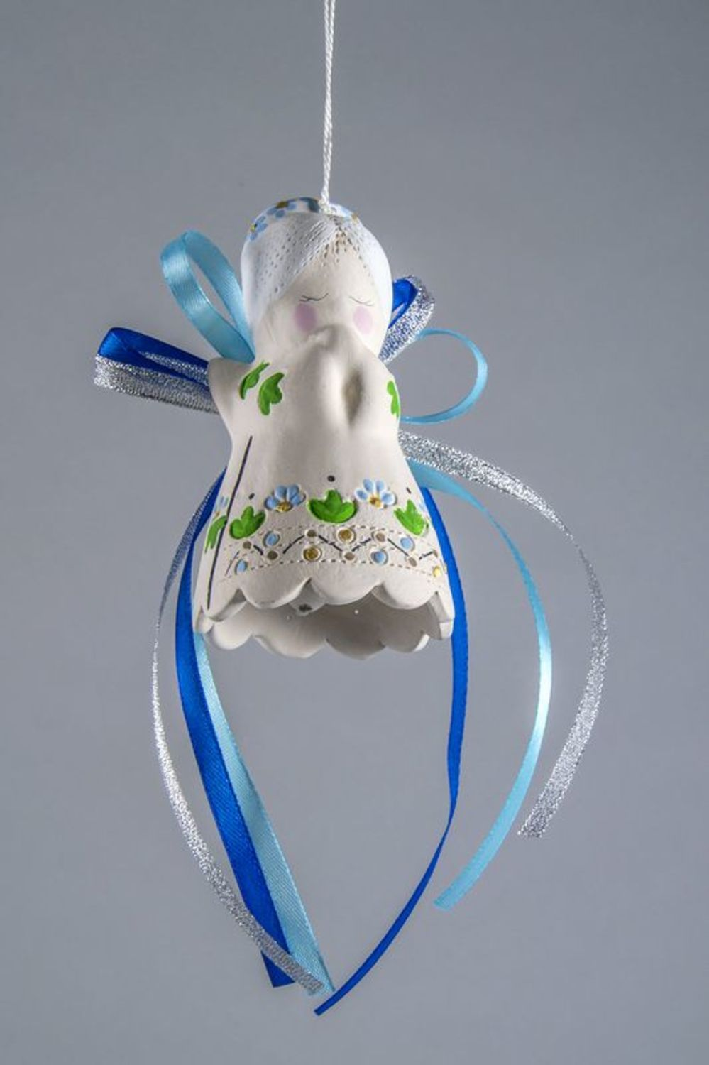 Ceramic angel-bell with ribbons photo 5