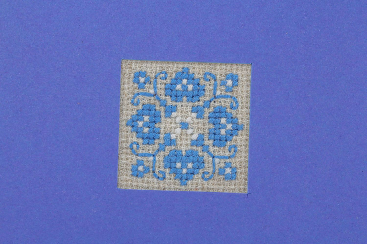 Blue postcard with embroidery  photo 3