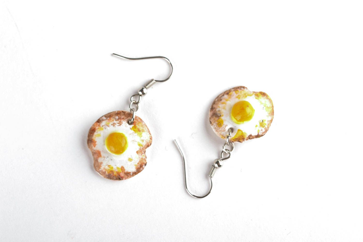 Polymer clay earrings in the shape of fried eggs photo 2