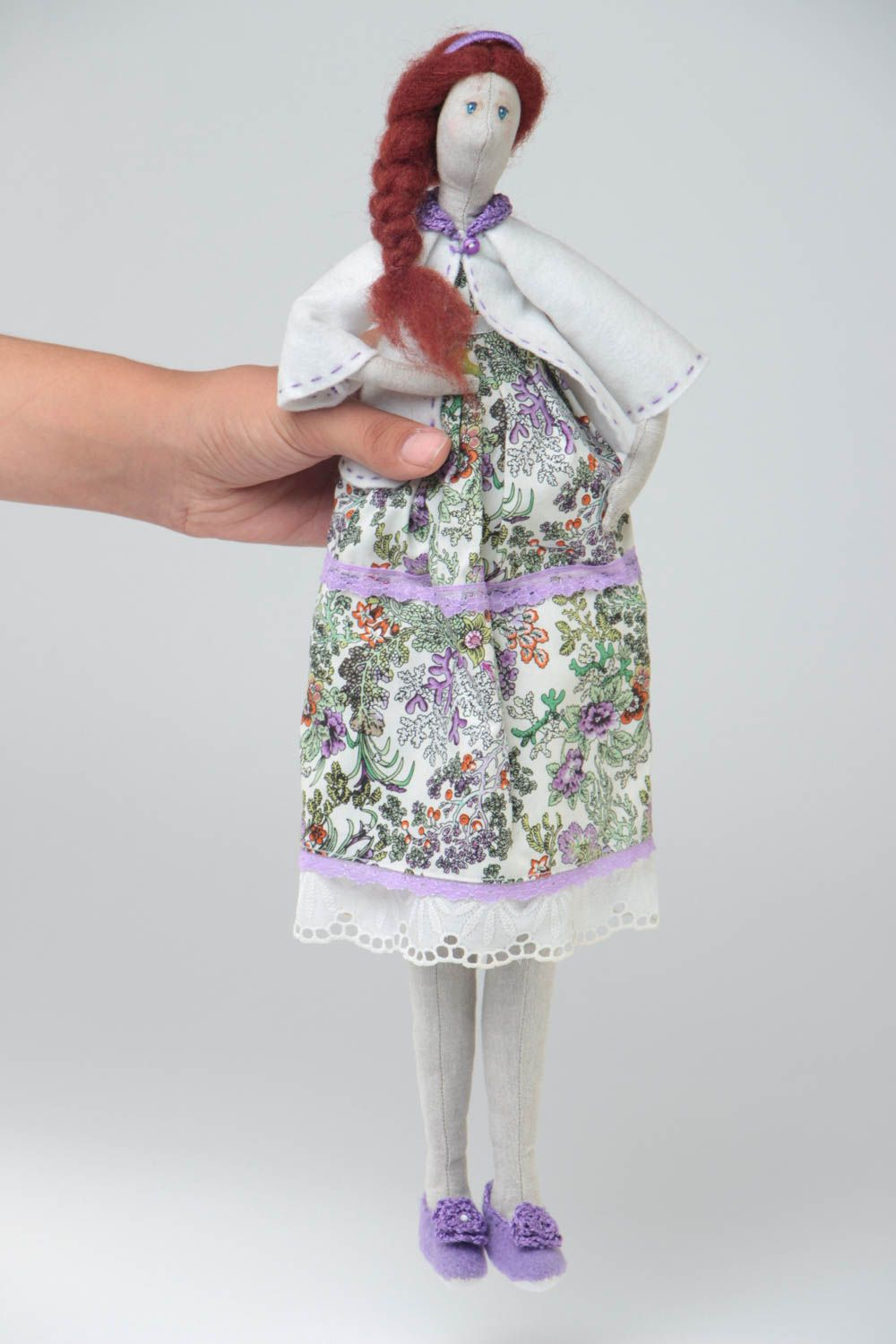Handmade designer cotton and linen fabric soft doll in dress with floral pattern photo 5