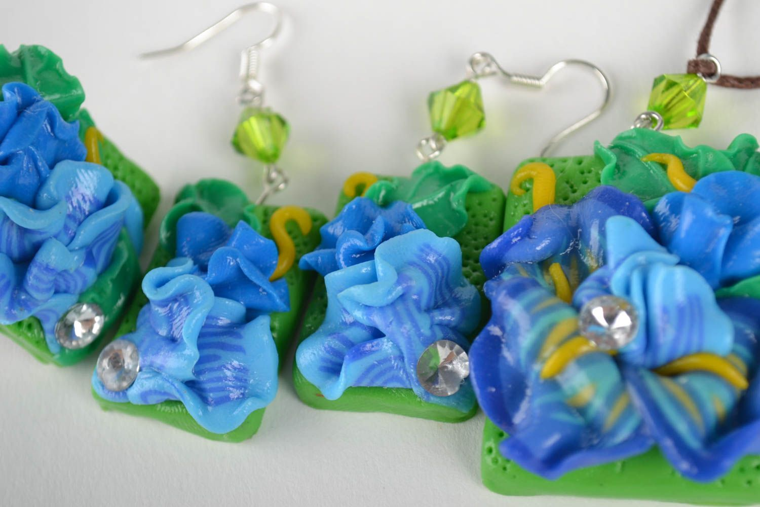 Handmade jewelry set flower necklace dangling earrings hair clip seal ring photo 4
