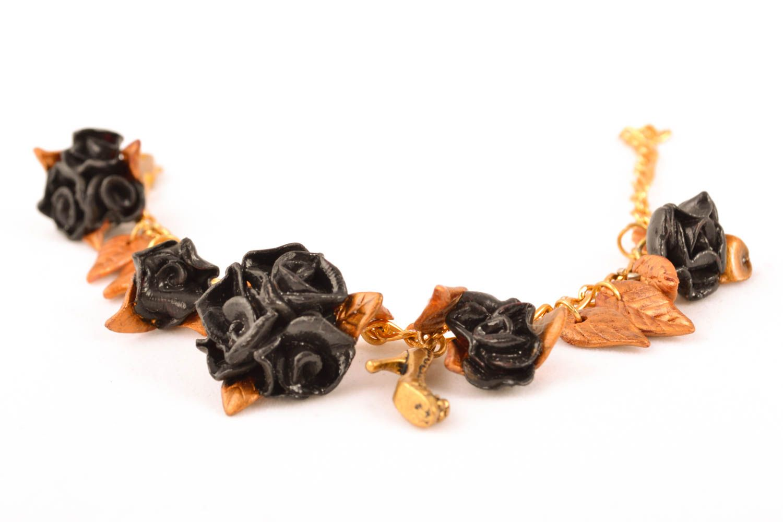 Polymer clay bracelet Black Roses photo 1