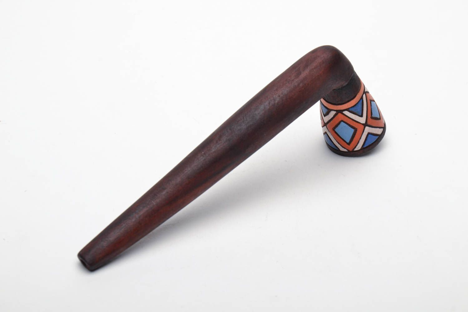 Long wooden smoking pipe with painting photo 3