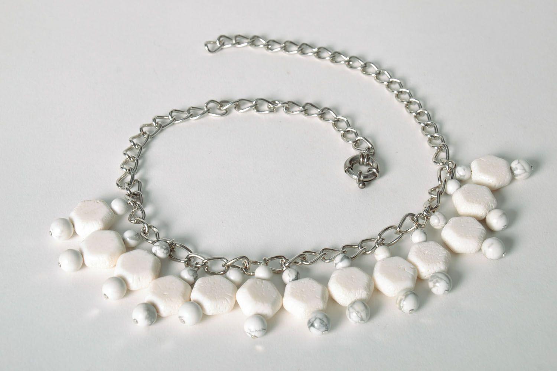 Halskette aus Kalmückenachat und Koralle foto 5
