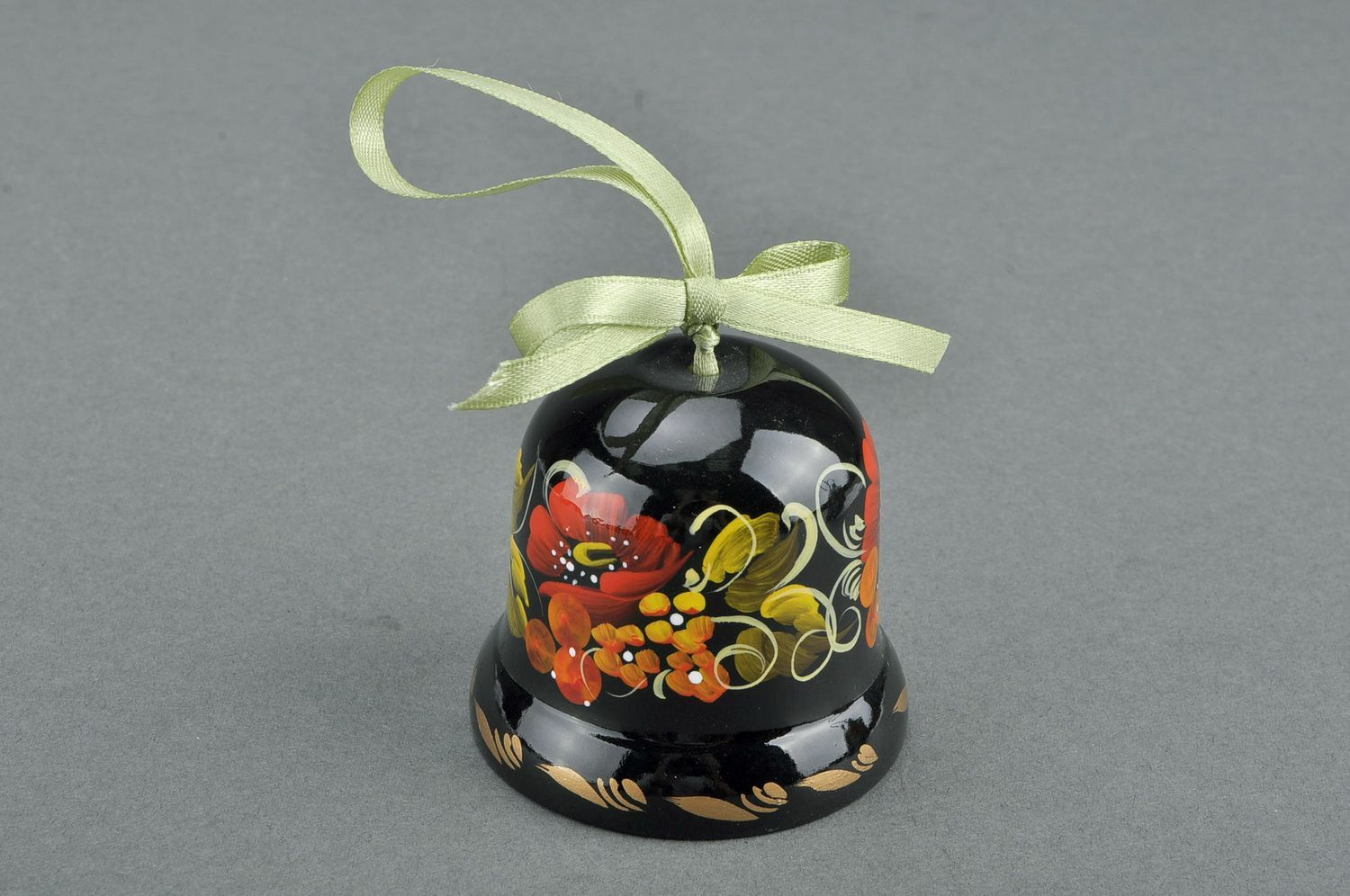 Decorative bell made from wood Poppy blossom photo 1