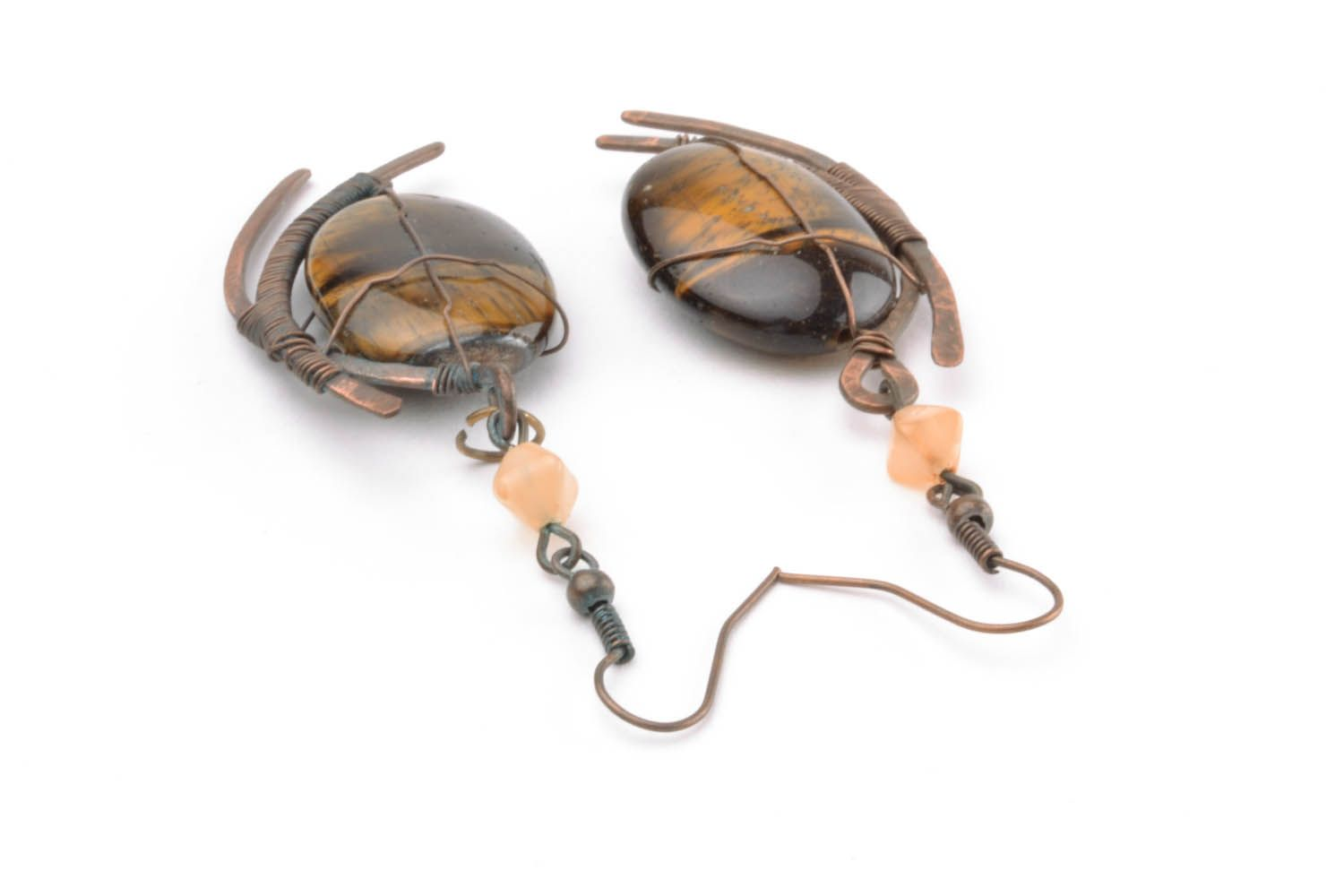 Copper earrings with tiger's eye stone photo 4