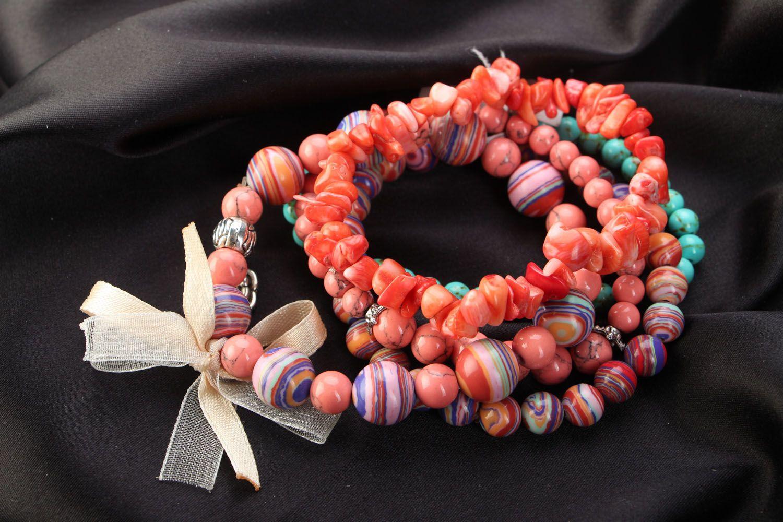 Комплект браслетов из 5 штук коралловый фото 1