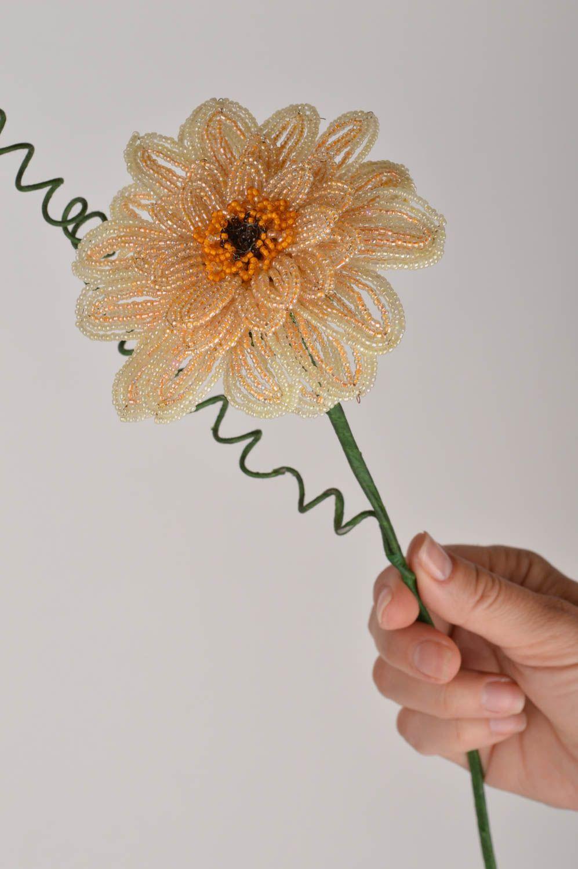 Handmade decorative flower woven of Chinese beads Cream Gerbera photo 3