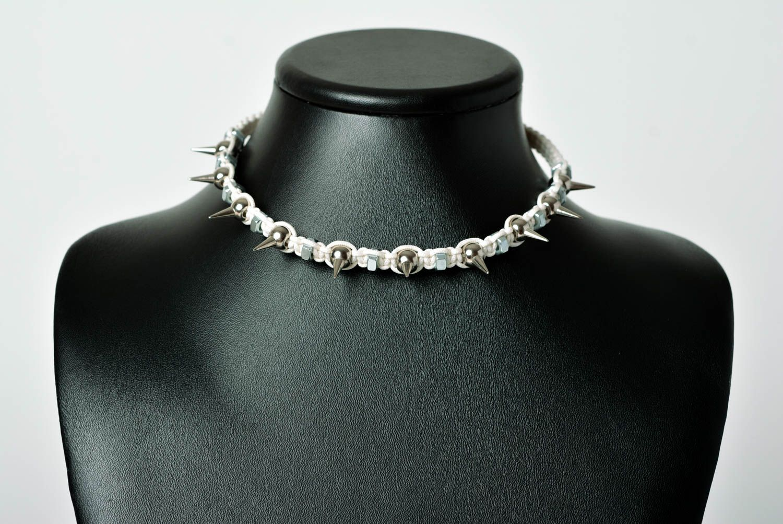 Spike necklace handmade necklace macrame necklace handmade thread jewelry  photo 2
