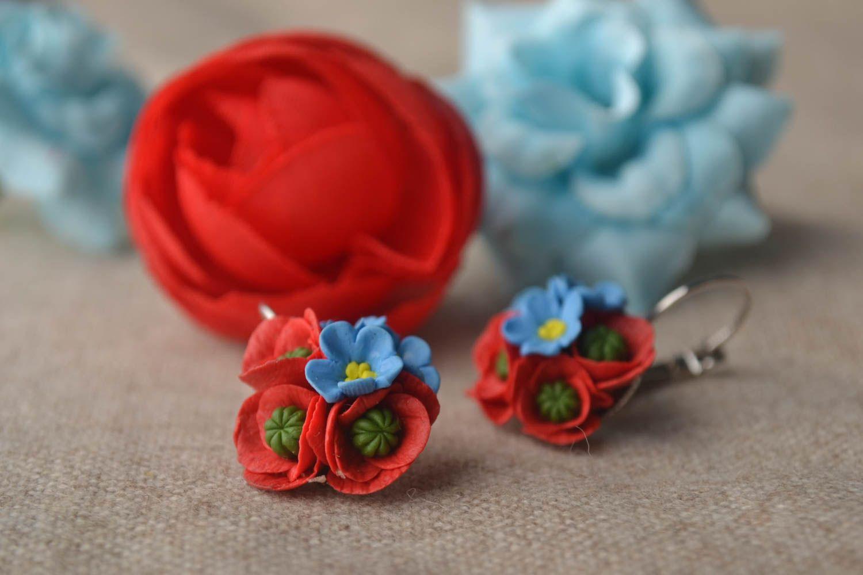 Handmade unique cold porcelain earrings designer bijouterie present for women photo 1