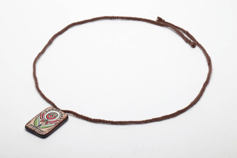 Rectangular wooden pendant in ethnic style photo 2