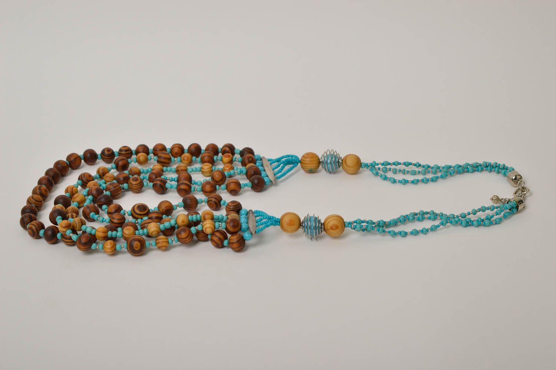 Handmade wooden beaded necklace elegant female necklace stylish accessory photo 4