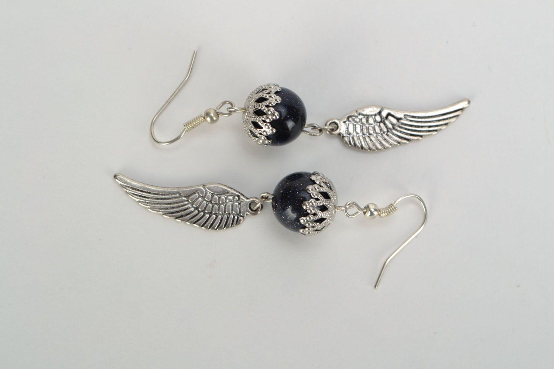 Earrings with aventurine Angel wings photo 3