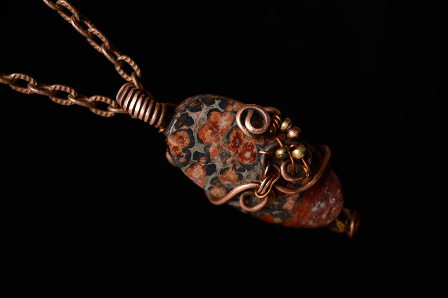 Metal pendant with natural stone photo 1