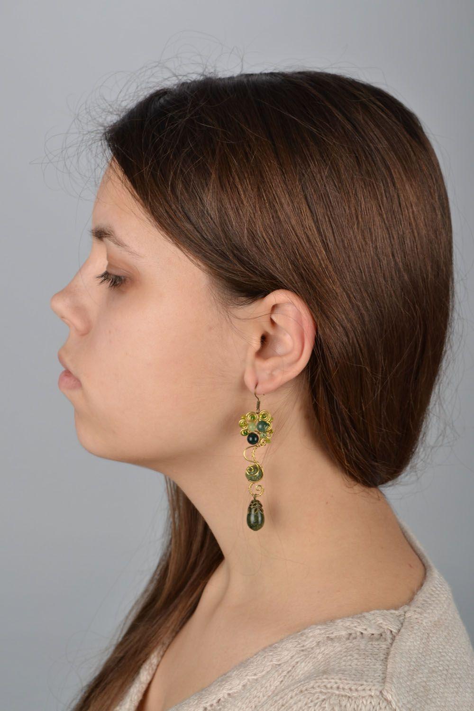 Handmade metal earrings with natural stones photo 5