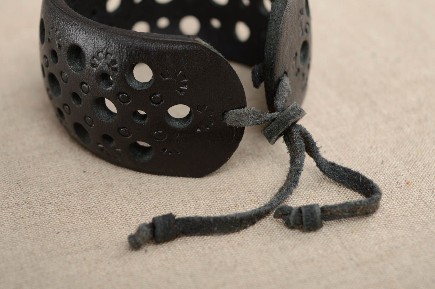 Wide leather bracelet with carving and embossing photo 2