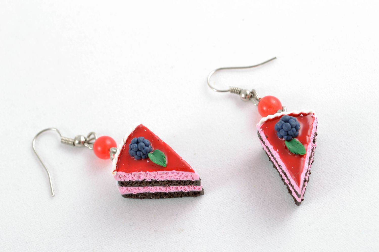 Polymer clay dangle earrings Blueberry Pie photo 3