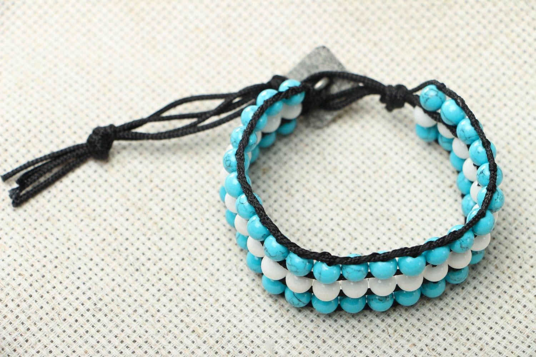 Blau weißes Armband mit Achat und Türkis foto 1