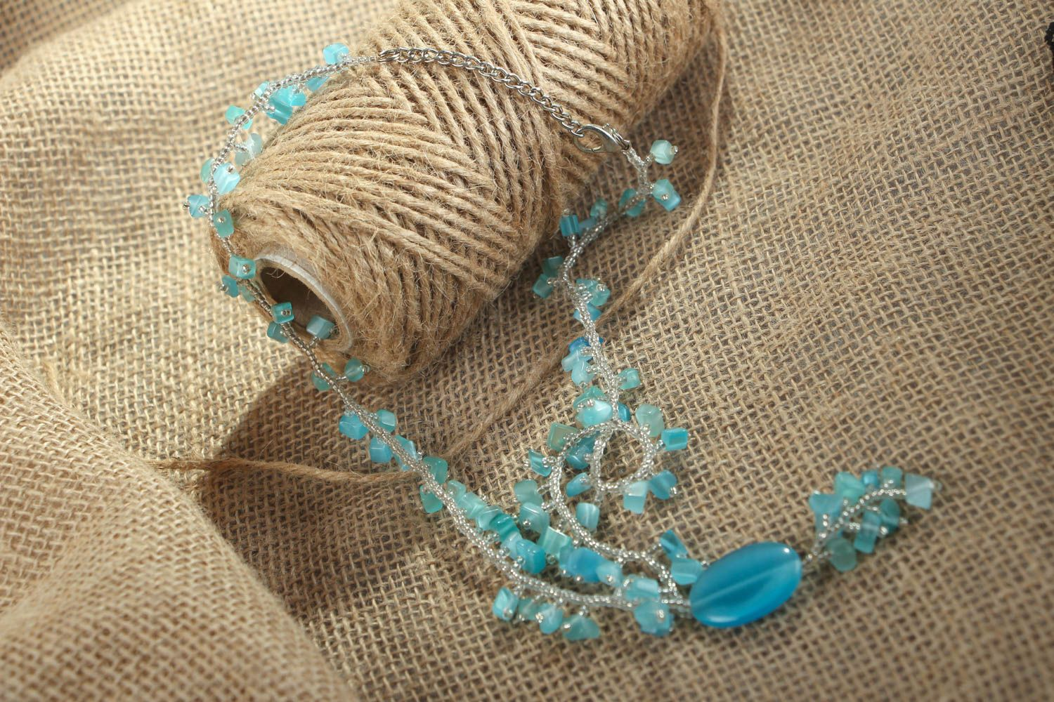 Homemade necklace with cat's eye stone photo 5