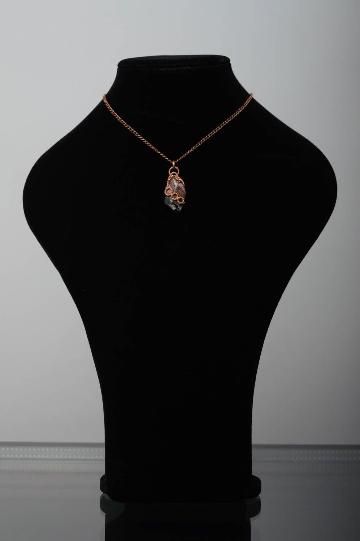 Copper thread pendant with rhodonite photo 3