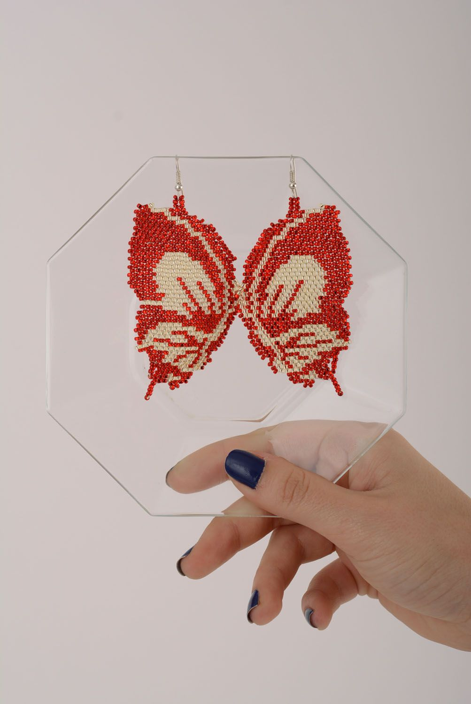 Beaded earrings Butterflies photo 5
