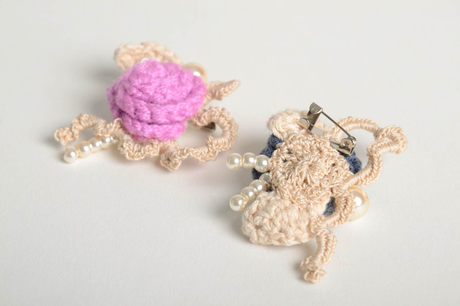 Crochet brooch handmade brooches textile jewelry designer accessories for girls photo 3