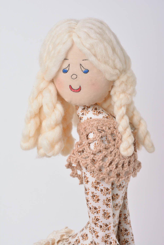 Designer decorative linen doll on stand handmade home decor present for children photo 2